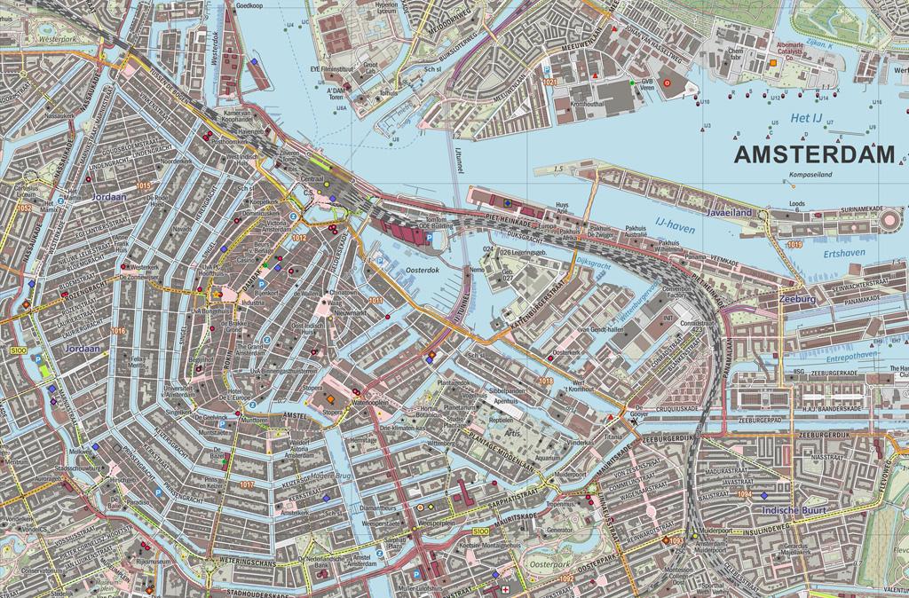 Plattegrond Topografische Kaart Van De Grachtengordel En Het